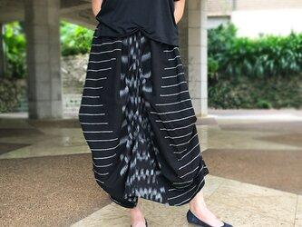 再販!手織り綿絣織り変わりロングスカート、オールシーズンの画像
