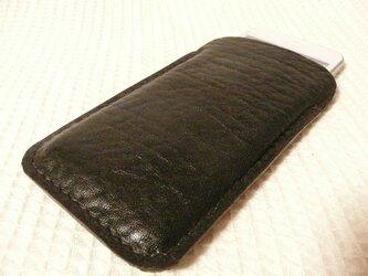 手縫いi Phone 5専用立体的ケース こげ茶シボ牛革の画像