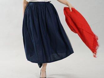 【wafu】薄地 リネン 思い出のリネンスカート ウエストゴム ロング丈 膝下丈 / ネイビー s004d-neb1の画像