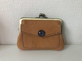 外ポッケのついた、四角い本革ぺたんこ親子がまぐちミニ財布の画像