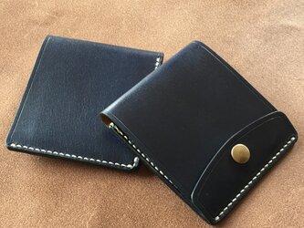 【右開口カードポケット2 Dブルー】薄型シンプル札ばさみ MC-08dblr マネークリップ ヌメ革の画像