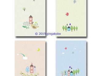「北欧シリーズⅡ 4枚組」  ほっこり癒しのイラストポストカード   No.832の画像