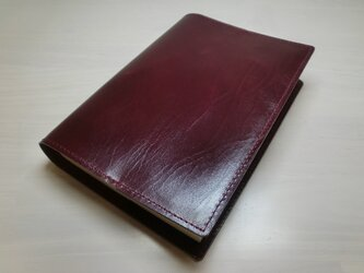 文庫本サイズ・ダークワイン・スムースゴート・フラットタイプ・ブックカバー・0348の画像