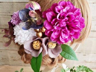 艶姫 パープル系ダリアと舞妓ファレノの髪飾り10点Set No594の画像