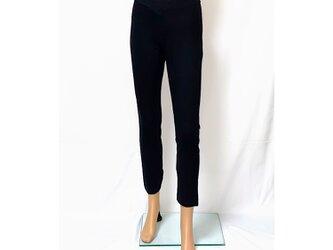 【再販2】1サイズで7~13号対応!穿いている感じがしない美脚スキニーストレートロングパンツ:ピュアブラックの画像