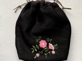 ふわふわリネンの巾着バッグの画像