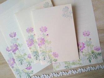 消しゴム版画「レターセット(洋2サイズ縦型封筒)・ポストカードのセット(秋桜)」の画像