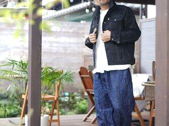 【wafu】リネン100% 帆布 Gジャン 男女兼用 ユニセックス トラッカージャケット/ブラック h051a-bck2の画像