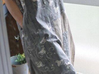 久留米絣反物2種からスタンドネックワンピースの画像