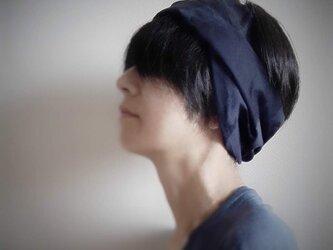 ターバンなヘアバンド カモフラージュ ネイビー系 送料無料の画像