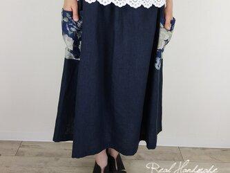 ヨーロッパグレイッシュネイビーリネンサイドポケットスカートの画像