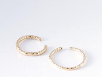 送料無料【14kgf】 三日月 2way イヤーカフ&リング/模様(2つセット) 指輪の画像
