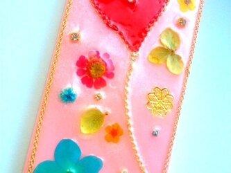 カラフルな花とハートのハッピーIPHONE5/5sケースの画像