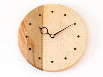 寄せ木の壁掛け時計 円形2−1の画像