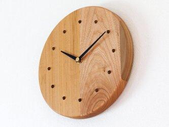 寄せ木の壁掛け時計 円形2−2の画像