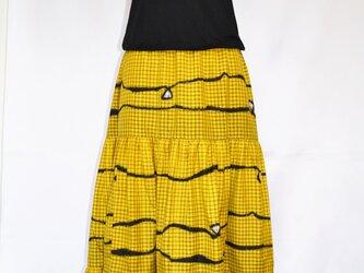 銘仙スカート:黄色・抽象柄/手洗い可・国内送料無料の画像
