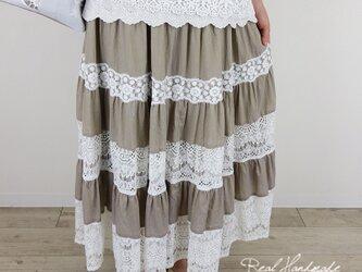 ワッシャーコットンアイラッシュレースティアードスカートの画像