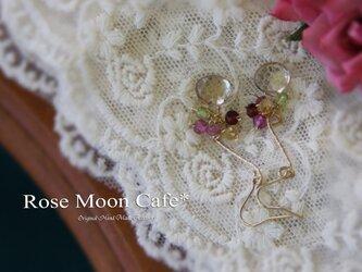 宝石質シャンパンクォーツマロンと天然石飾り金具ピアスk14gfの画像