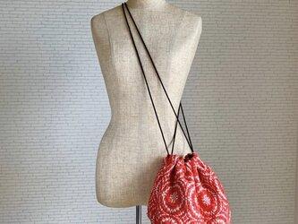 レトロ 手織りショルダーバッグ 赤 コットンの画像