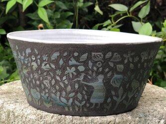 Kakiotoshi large bowl -鳥を呼ぶ人の画像