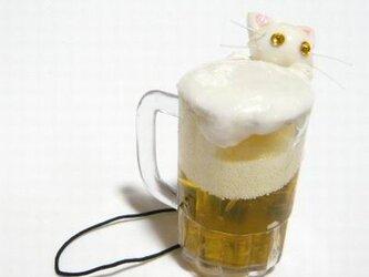 にゃんこのしっぽ〇にゃんこの生ビール〇ターキッシュアンゴラ〇猫〇ストラップの画像