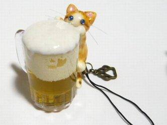 にゃんこのしっぽ〇にゃんこの生ビール〇茶とら白猫〇猫〇ストラップの画像