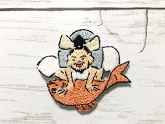 手刺繍浮世絵ブローチ*鍬形蕙斎(北尾政美)「蕙斎略画式 七福神」の恵比寿さまの画像