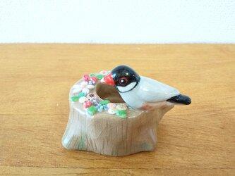 印鑑スタンド(陶)桜文鳥の画像