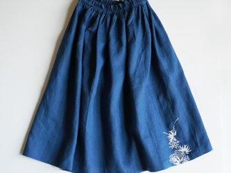 リネン・ギャザースカート ブルー<海中植物>の画像
