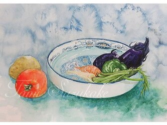 水彩・原画「夏野菜」の画像