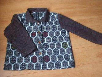 レンコン模様の木綿絣の着物からジャケット 木綿の画像