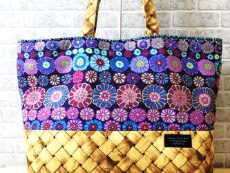 トートバッグ* ラタン×フラワー(紫)の画像