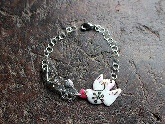【SHANTI・シャンティ】七宝シルバーブレスレット「鳩、菩提樹」ピンク [hs7]の画像