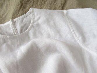 【chiyo様専用】リネン プルオーバー8分袖/white/13号(M)の画像