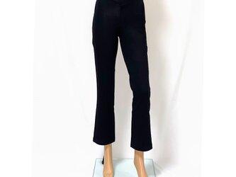 【再販】1サイズで7~13号対応!穿いている感じがしない美脚ストレートロングパンツ(股下70㎝)ピュアブラックの画像