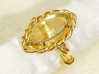 17×8mmレモンクォーツとSV925の指輪(リングサイズ:11号、K18イエローゴールドの厚メッキ、ライムイエロー)の画像