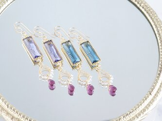 【14KGF】Rhodorite Garnet,Rectangle Glass Earringsの画像