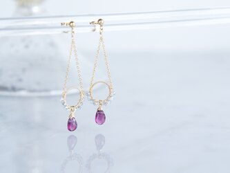 【14KGF】Rhodorite Garnet Earrings-B-の画像