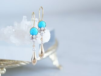 Gemstone Blue Turquoise&Genuine Silver Pearl Earringsの画像