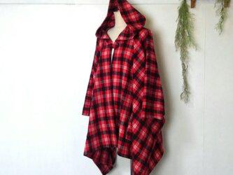 柔らか 赤チェック ポンチョ ~ コート ジャケット ケープの画像