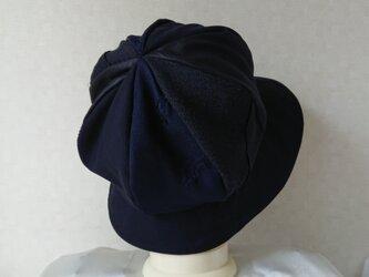 魅せる帽子☆ふんわり♪グラデーションのリバーシブルクロッシュ~ネイビーの画像