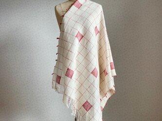 お絵描き 手織り大判ストール テラコッタ コットンの画像