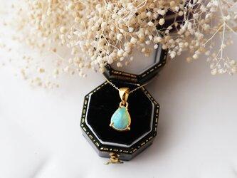 【K10】宝石質プレシャスオパールの一粒ネックレスの画像