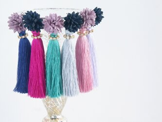 Flower&Silk Tassel Stud Earringsの画像
