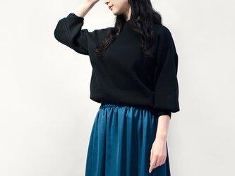 サテン風 ピーコックブルー ロングスカート ●ANNETTE-PEACOCK●の画像