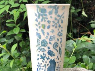 Large kakitoshi cup - 猫やオナガドリが来る庭の画像