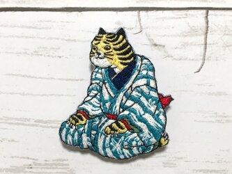 手刺繍浮世絵ブローチ*歌川国芳「道化拳合」の虎の画像