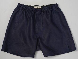 【wafu/改良版】やや薄地 リネン トランクス 速乾 防臭 インナー パンツ メンズ 40番手/留紺 b014a-tmk1の画像