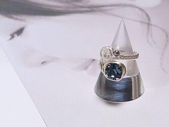 スワロフスキー ワイヤーラッピング フリーサイズ リング(162035denimblue)~スワロ ブルー~の画像
