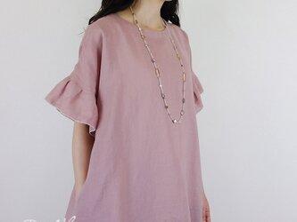 [予約販売] リネンクラシックローズピンク半袖フリルワンピースの画像